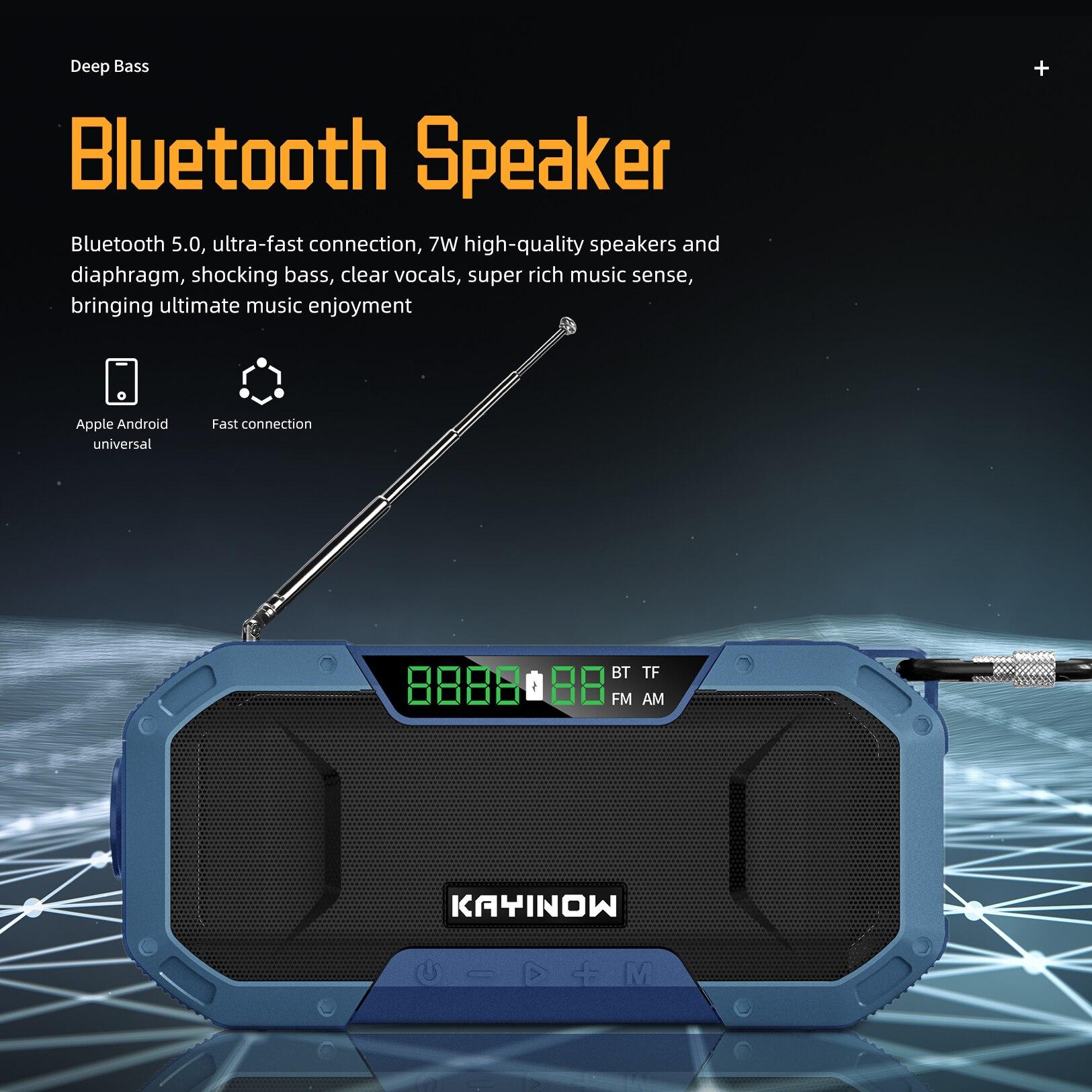 2021 Multifunctional Portable Bluetooth Speaker Hand Crank Solar Radio AM/FM Radios LED Flashlight and 5000mAH Power Bank w/ sos enlarge