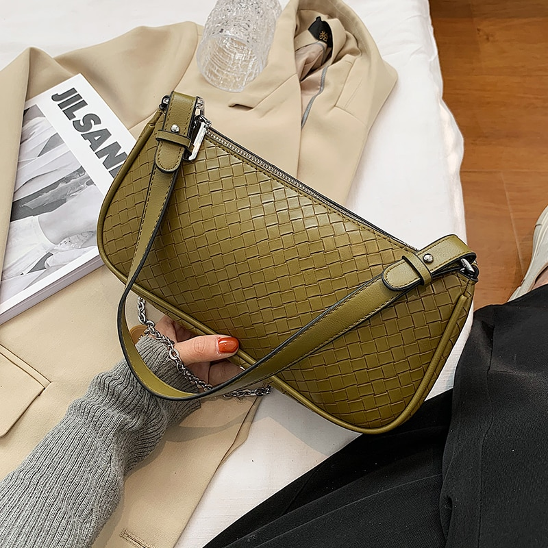 Weaving Design Luxury Women's Famous Brand Small Underarm Bags Female 2021 Fashion PU Leather Shoulder Crossbody Handbags