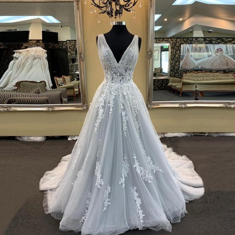 Promo 2021 spring V-neck Wedding dress lace pleat платье vestidos de novia wedding party Dress Robe De Soiree bride to be lace-up