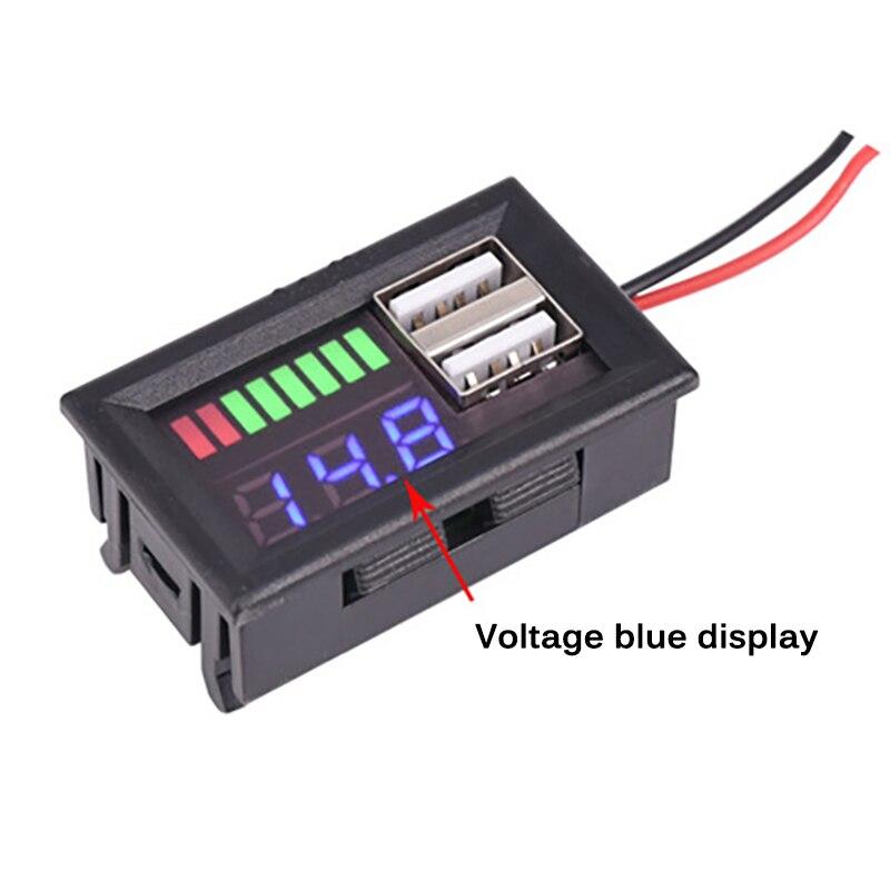 Pantalla Digital LED voltímetro Mini medidor de voltaje batería Panel de prueba Dual USB 5V2A salida para DC 12V coches motocicletas vehículos