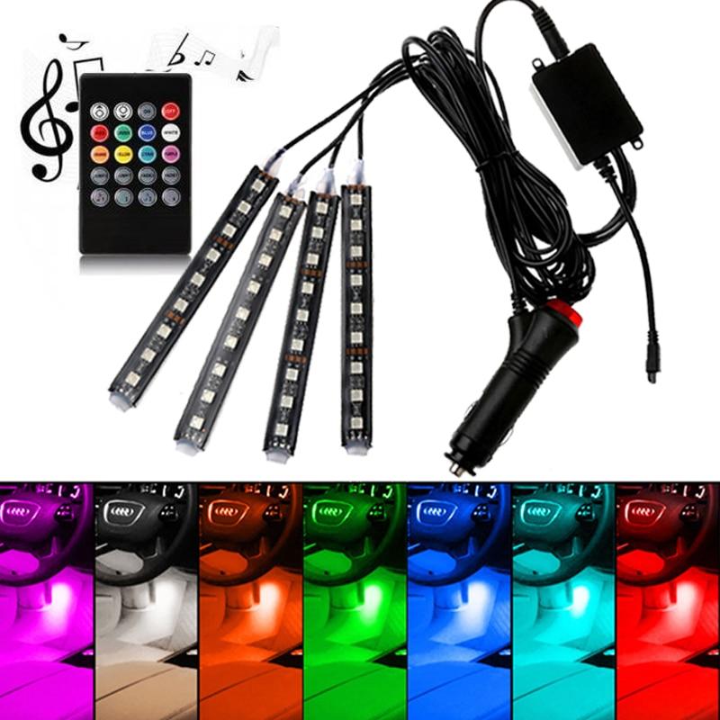 Car Interior Atmosphere LED RGB Strip Light Dash Floor Foot RGB LED Strip Decorative Light Music sound Control Multiple lighting