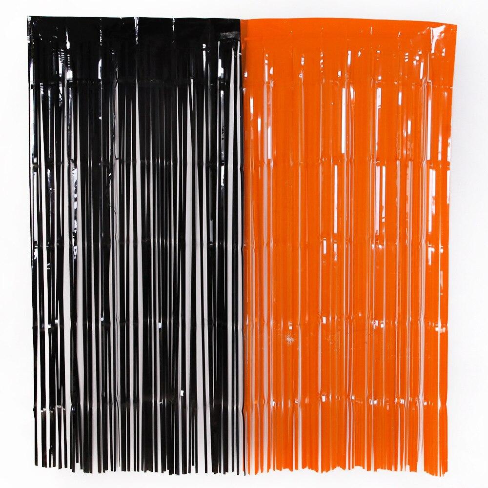 0,5 M * 1M nuevo Halloween fiesta telón de fondo naranja lámina de aluminio negro cortina foto de Halloween telón de fondo con cabina cortina Halloween fondo