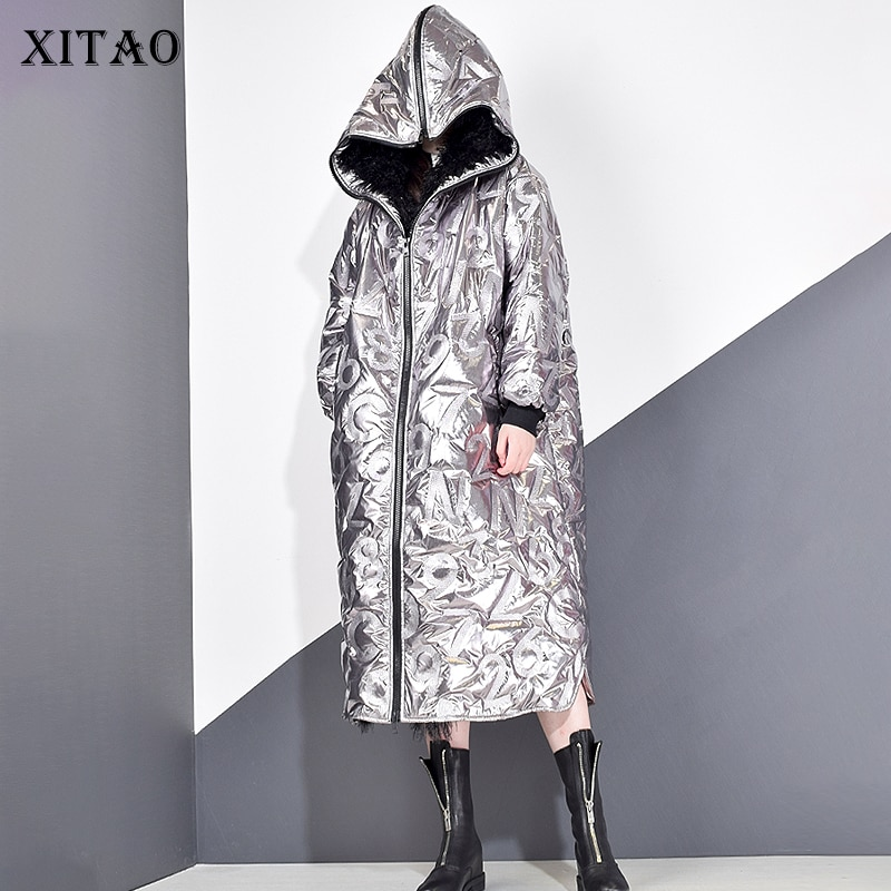 XITAO Personality Winter Coat Women Letter Pattern Streetwear Parka Tide Brand Loose Plus Size Women Clothes 2019 New DMY1754