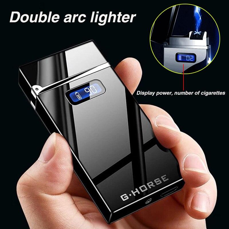 USB الإلكترونية شحن أخف المزدوج قوس البلازما ولاعة السجائر LED الطاقة يندبروف الكهربائية نبض الشعلة الولاعات الرجال الأدوات