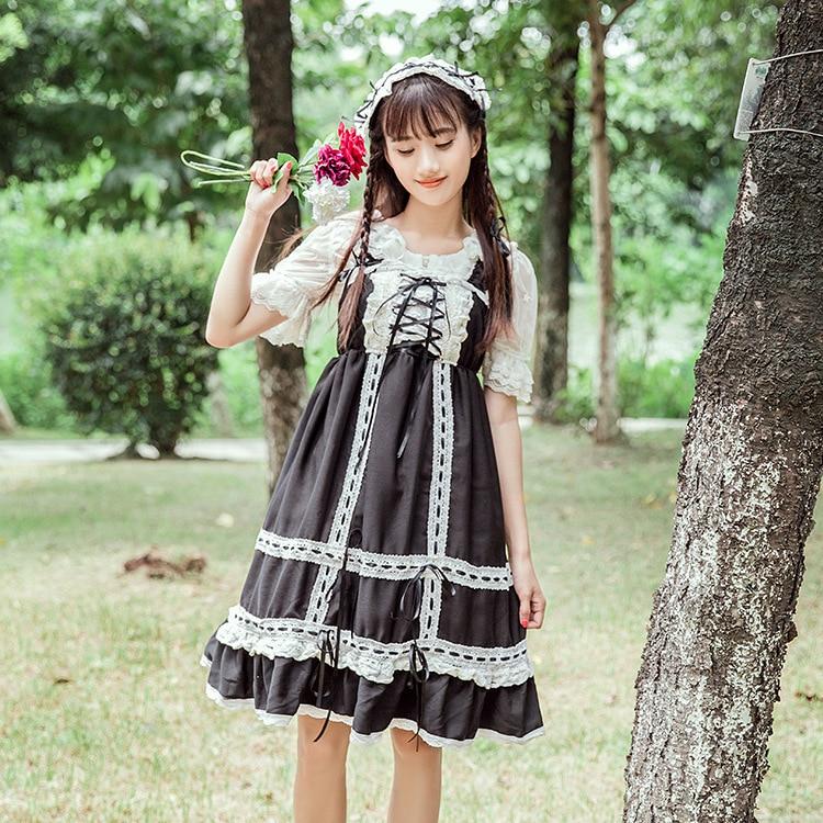 2020 modelos de explosión cinta encaje vestido spot secy lolita vestido princesa criada Vintage gótico estampado patrones encaje negro rojo suma