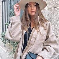 vintage women camel woolen jackets 2021 spring autumn fashion ladies elegant loose long coats streetwear girls chic outwear