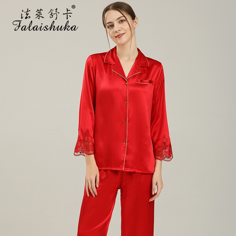 100% Silk Pajamas Sets For Women Full Sleeve  Two Pieces Set  Red Pink 2021 New Summer  Lady Silk Home Wear Sleepwear