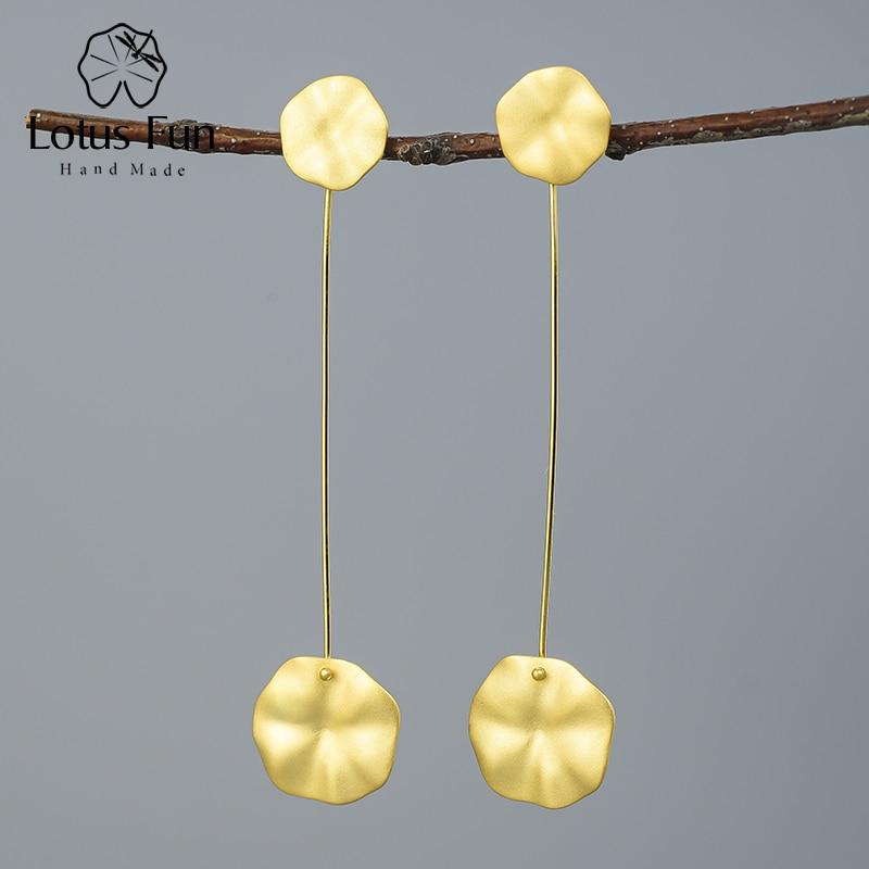 Lotus Fun 18k Gold Lotus Leaves Dangle Earrings Real 925 Sterling Silver Natural Handmade Designer Fine Jewelry for Women Bijoux
