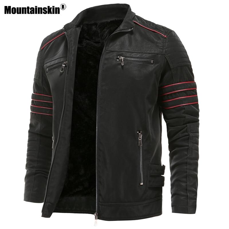 Mountainskin Men's Leather Jackets Autumn Winter Motorcycle PU Jacket Male Biker Leather Coats Mens Brand Clothing EU Size SA870