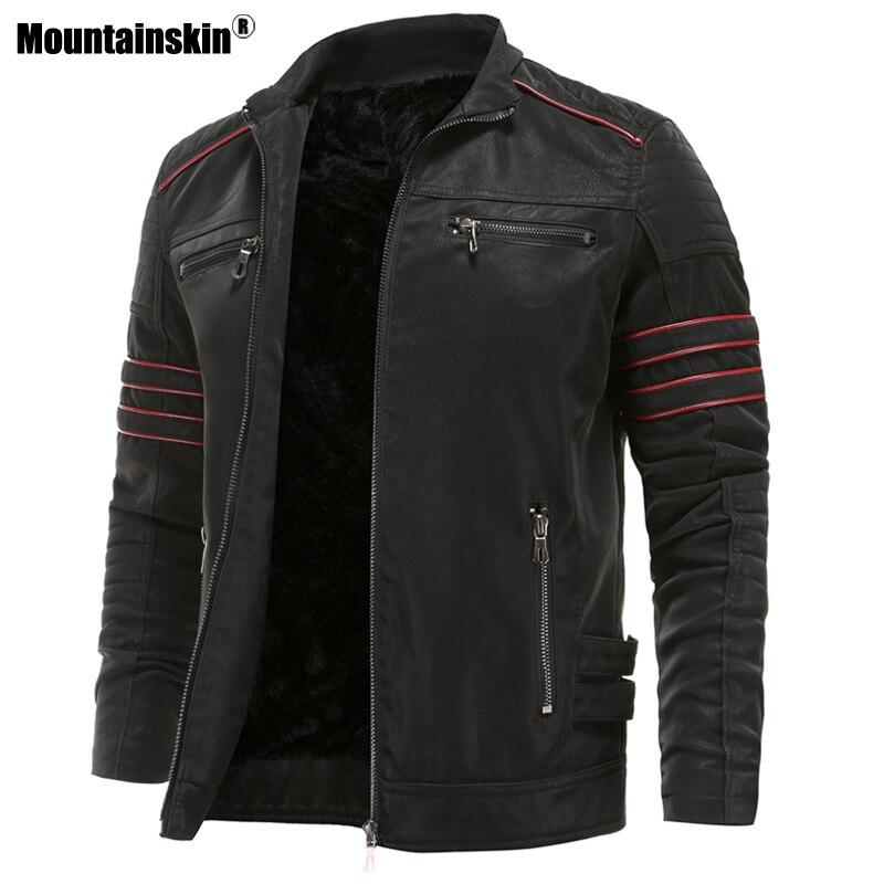 Chaquetas de cuero para hombre Mountainskin, chaqueta de piel sintética para motocicleta de otoño e invierno, abrigos de cuero para motorista, ropa de marca para hombre, talla Europea SA870