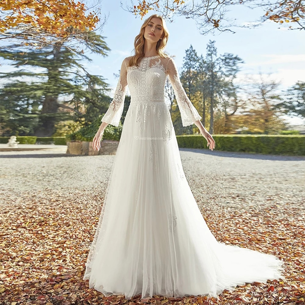 Get Glam 3/4 Flare Sleeve Wedding Dresses O Neck Long Sleeve Lace Tulle Backless A Line Court Train Bridal Gowns Robe De Mariée