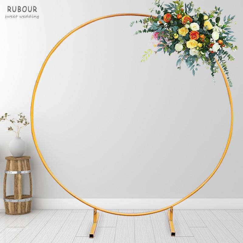Arco do Casamento ao ar Festa de Aniversário Decoração do Feriado Círculo Ferro Livre Gramado Mariage Fundo Arco Quadro Balão Flor 2m