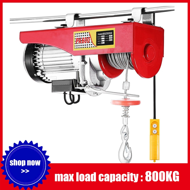 800kg Electric Cable Hoist Lifting Wire Hanging Crane Electric Workshop Power Gantry Hoist Winch 230V/50Hz 1450W Lifting Tool