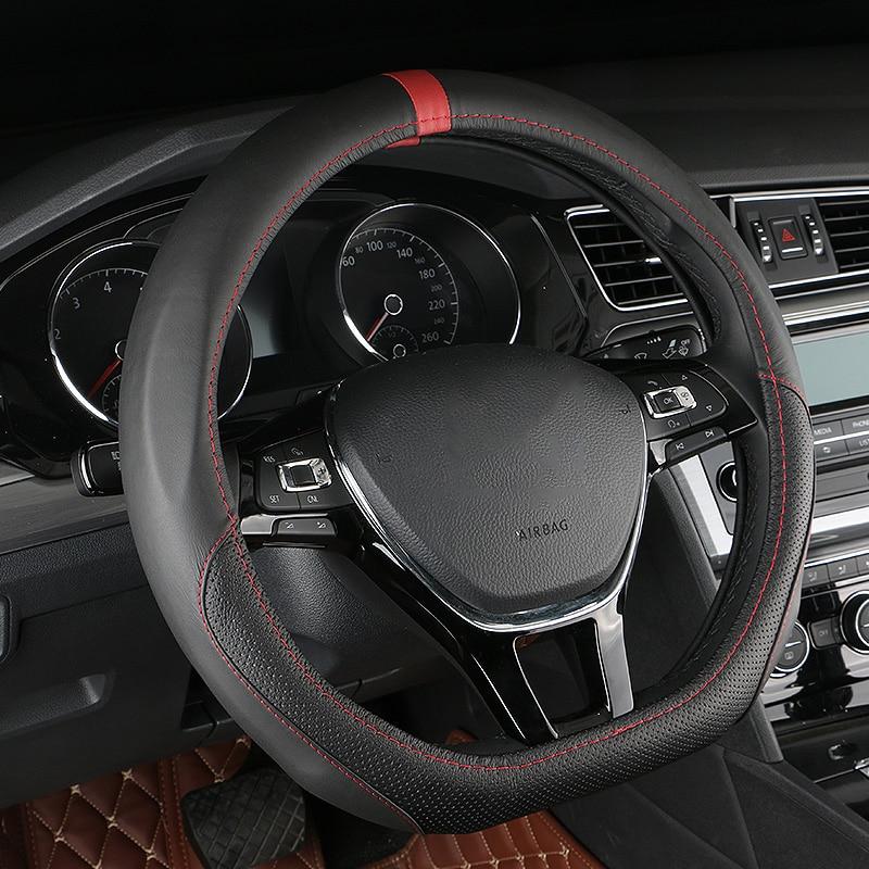 D anillo de cuero protector para volante de coche para Volkswagen VW Golf 7 Mk7 GTI R Passat B8 nuevo Magotan Polo Jetta Scirocco 2015, 2016