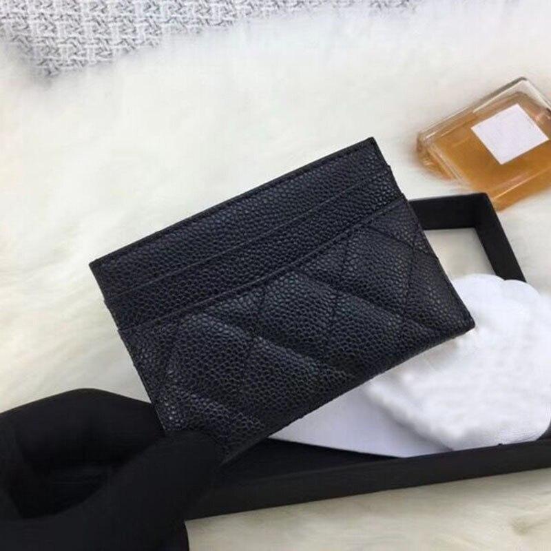 Women luxury caviar Card Holder top quality real leather designer Female mini short brand Credit Card Case