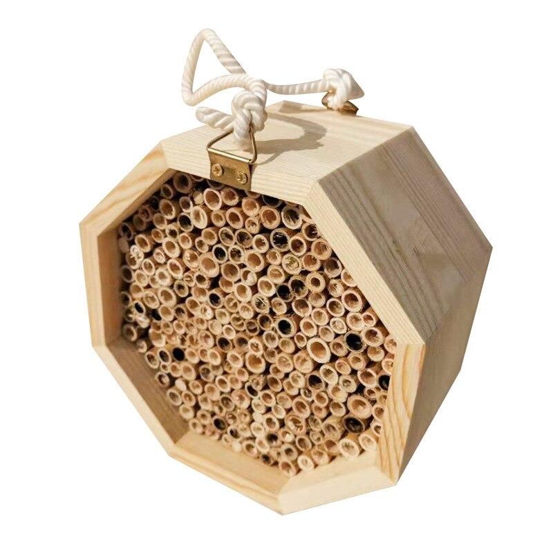 Bambú Natural artesanal, colmena de abeja, casa de abeja Mason atrae a polinizadores de abeja apacibles para el jardín