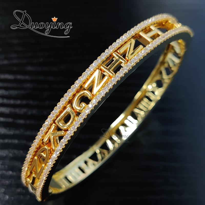 Duoying-أساور زركونيا قابلة للتخصيص بأرقام رومانية ، خرز منزلق ، DIY ، هدية للأم