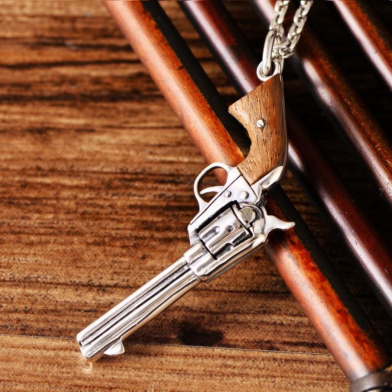 S925 silver jewelry retro Thai silver revolver silver pistol pendant men and women personality fashion pendant