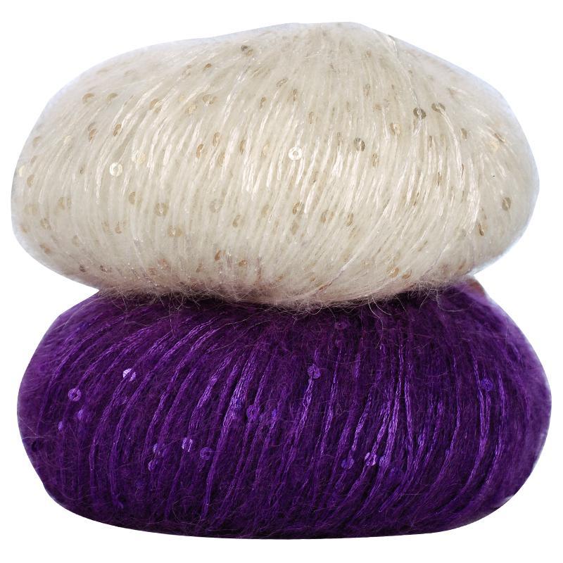 50g/ball New Sequins Mohair Yarn Soft Children's hand Knitting Yarn for Cloth Colorful Thin Crochet Yarn AQ379