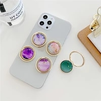 gold foil green purple sapphire phone support finger ring stand smartphone holder for iphone 12 samsung round ring holder gift