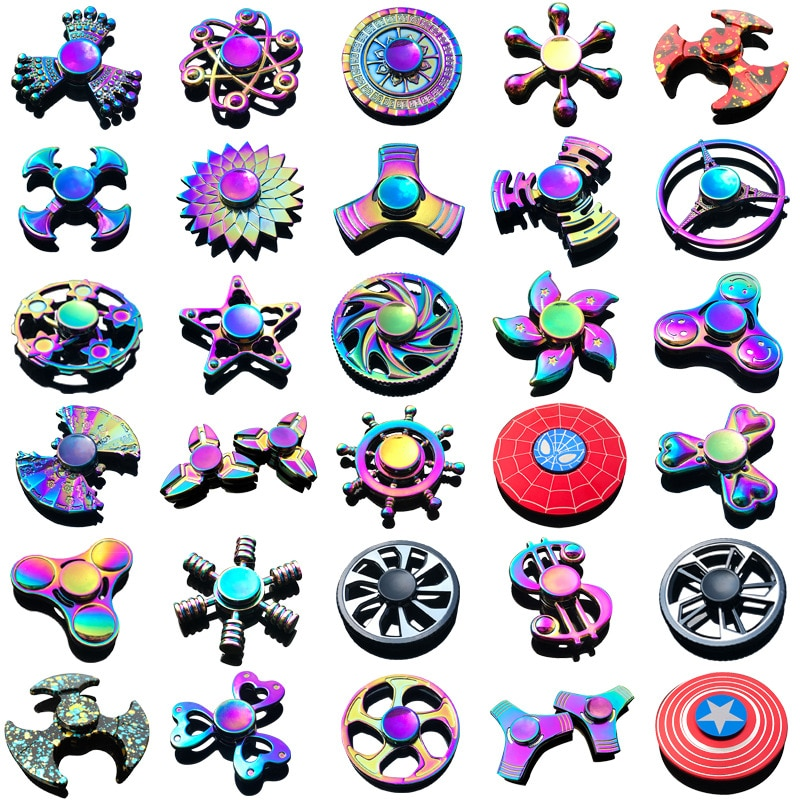 New Kinetic Colorful Hand Spinner Fidget Zinc Alloy Metal Bearing Edc Finger Relieves Stress E