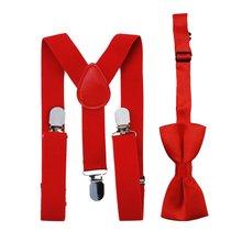 Nouvelle mode enfants bretelles cravate noeud papillon ensemble 13 couleurs bébé garçons filles correspondant cravates élastiques bretelles accessoires de mariage