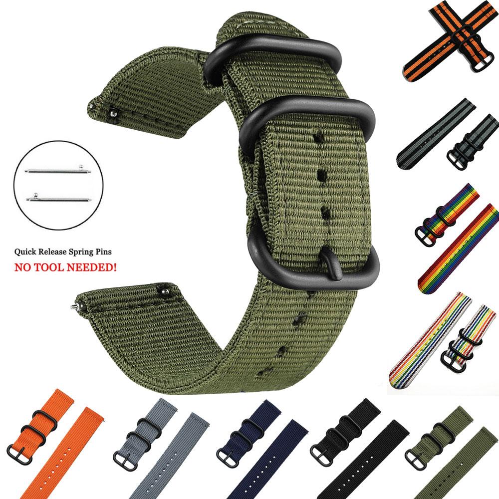 Correa deportiva de nailon tejida para Samsung Galaxy Gear S3 S2 bandas clásicas Amazfit 18mm 24mm 22mm 20mm banda de tela