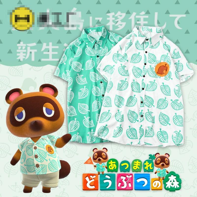 Unisex blusa de Animal Crossing Tom Nook Cosplay Camiseta Hombre T camisa Anime blusa de botones de manga corta Camisetas