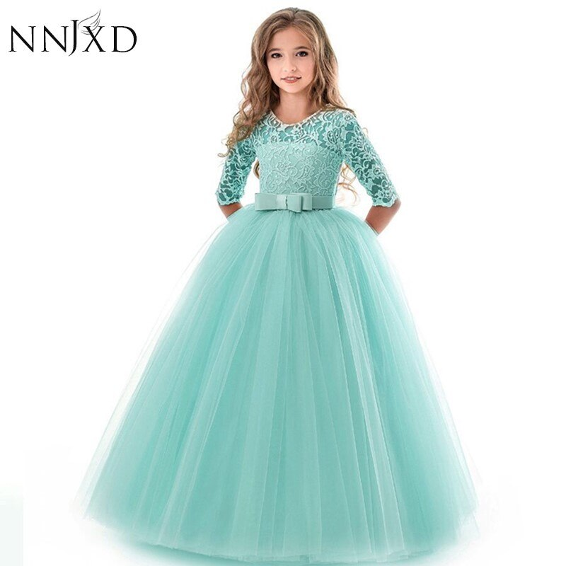 Neue Prinzessin Spitze Kleid Kinder Blume Stickerei Kleid Für Mädchen Vintage Kinder Kleider Für Hochzeit Party Formale Ballkleid 14T