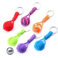 self defense lanyard monkey fist keychain outdoor security protection defensa personal steel ball women survival weapon