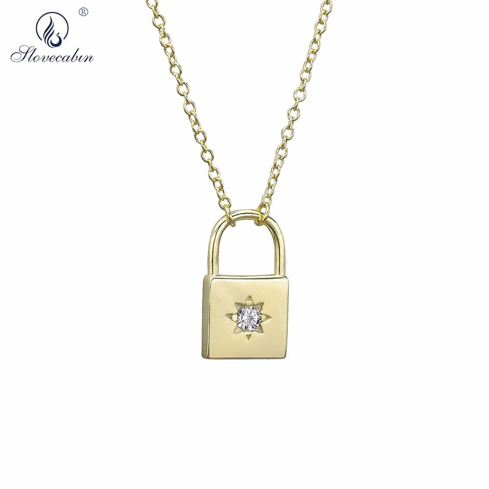 Slovecabin 2019 novo 925 prata esterlina ouro lockstitch pingente colar longo corrente de cristal luxo cz zircon jóias