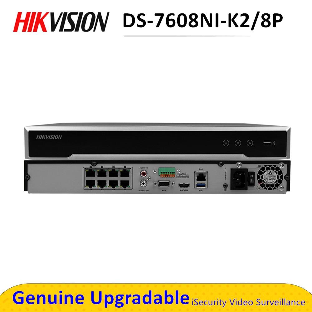 Hikvision NVR 8CH POE DS-7608NI-K2/8P Plug & Play 4K nvr grabadora de Video 2 SATA para HDD