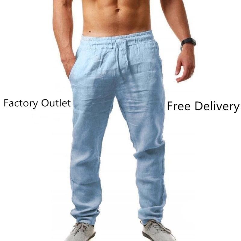 2021New الرجال القطن الكتان السراويل الذكور الصيف تنفس بلون الكتان بنطلون اللياقة البدنية الشارع الشهير S-3XL