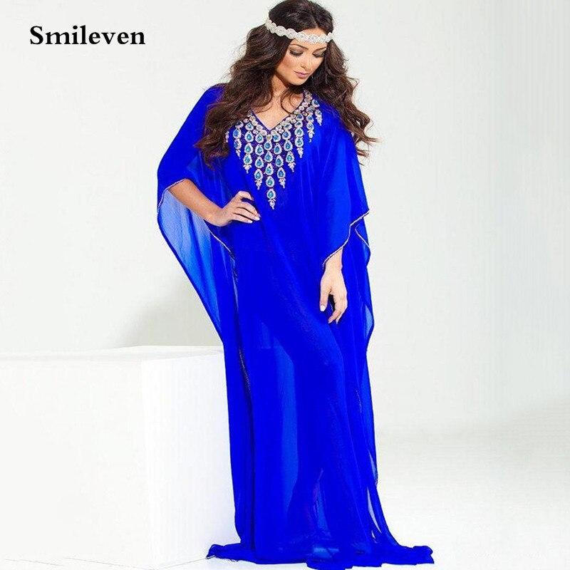 Smileven Pakistan Royal Blue Chiffon Formal Evening Dresses Sexy V Neck Saudi Arabia Caftan Evening Party Gowns Plus Size