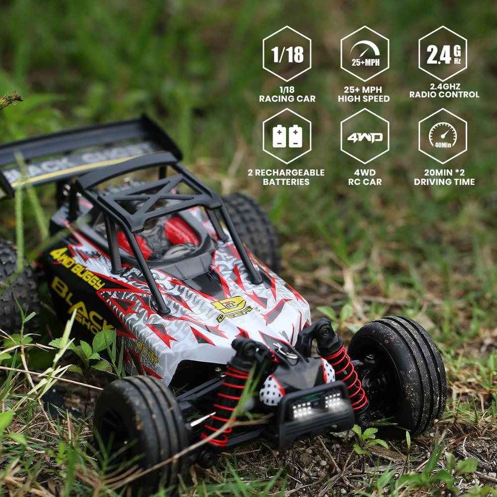 DEERC RC Cars 1:18 Scale 4WD All Terrain Off Road Stunt RC Drift Car 40KM/H High Speed Remote Control Car With 2 Batteries 40Min enlarge