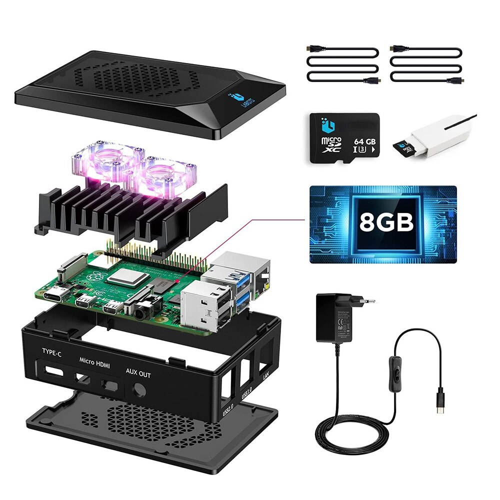 Raspberry Pi 4 8GB, Raspberry Pi 4 Model B 8GB Ultimatives Kit mit 64GB Micro SD-Karte, 5, 1V 3, 0A USB-C EIN/Aus-Schaltnetzteil