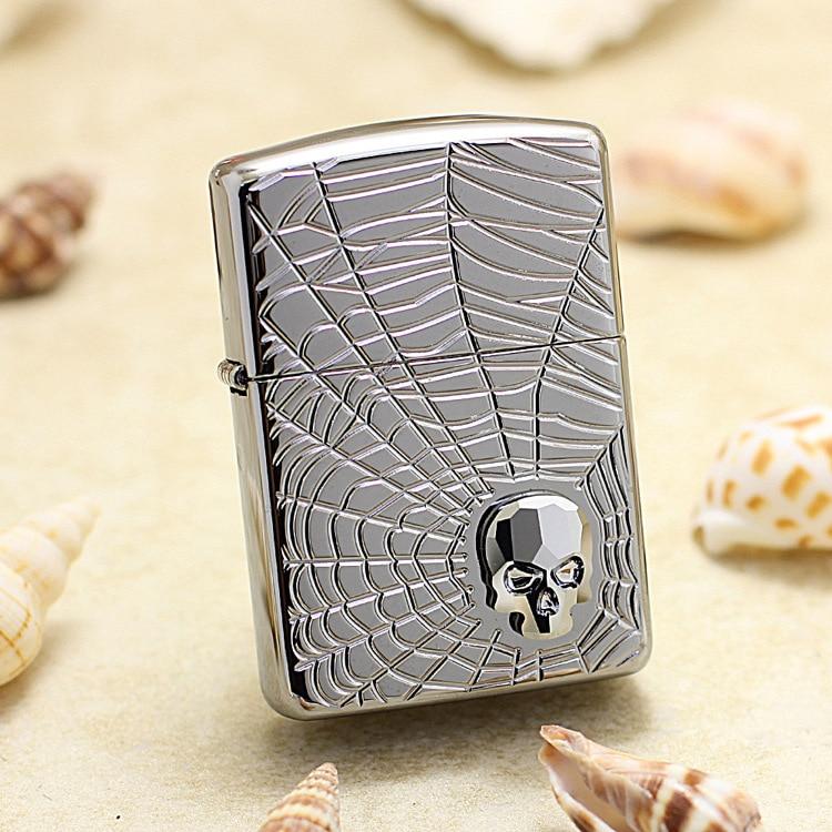 Genuine Zippo oil lighter copper windproof Spider web skeleton cigarette Kerosene lighters Gift With anti-counterfeiting code
