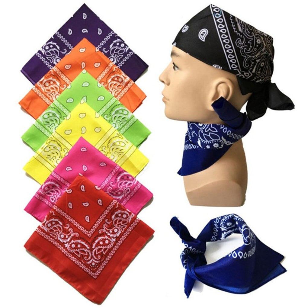 Fashion Hip Hop Men Women Bandana Sports Headwear Paisley Bandana Wrist Hairwrap Double Sided Head W