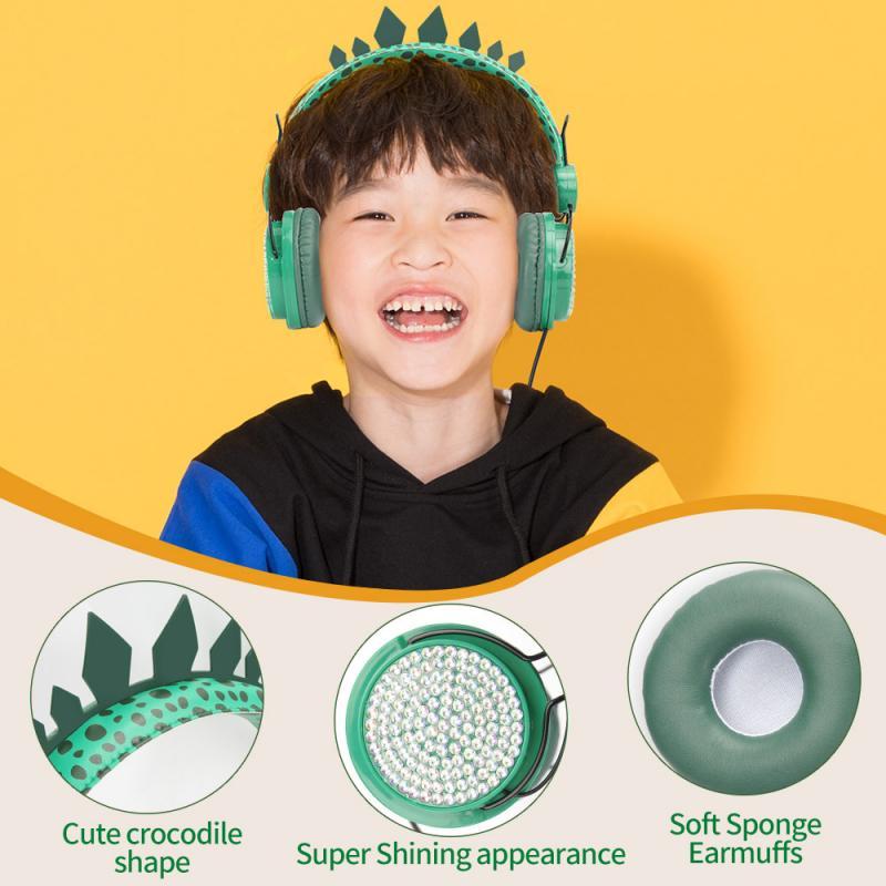 Dinossauro com Fio Fones de Ouvido Fone de Ouvido com Microfone Fone de Áudio Jack para Crianças dos Miúdos Quente Estéreo Jogos Aprendizagem 3.5mm 3d