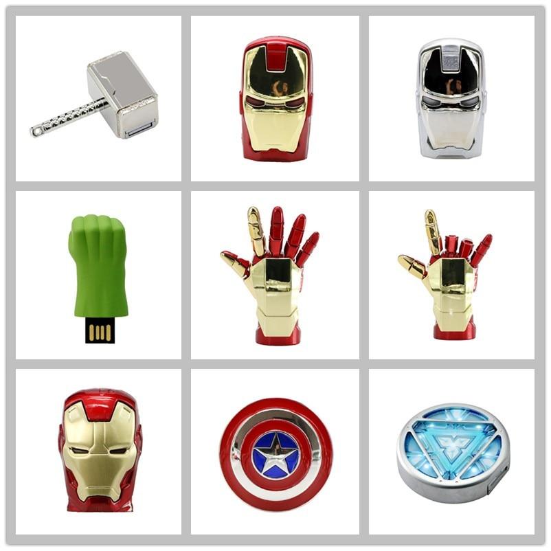 Avengers USB Flash Drive 4G Iron Man 8GB Pen Drive16GB Captain America 32GB USB Stick Hulk Thor PenDrive U Disk Flash USB Drive