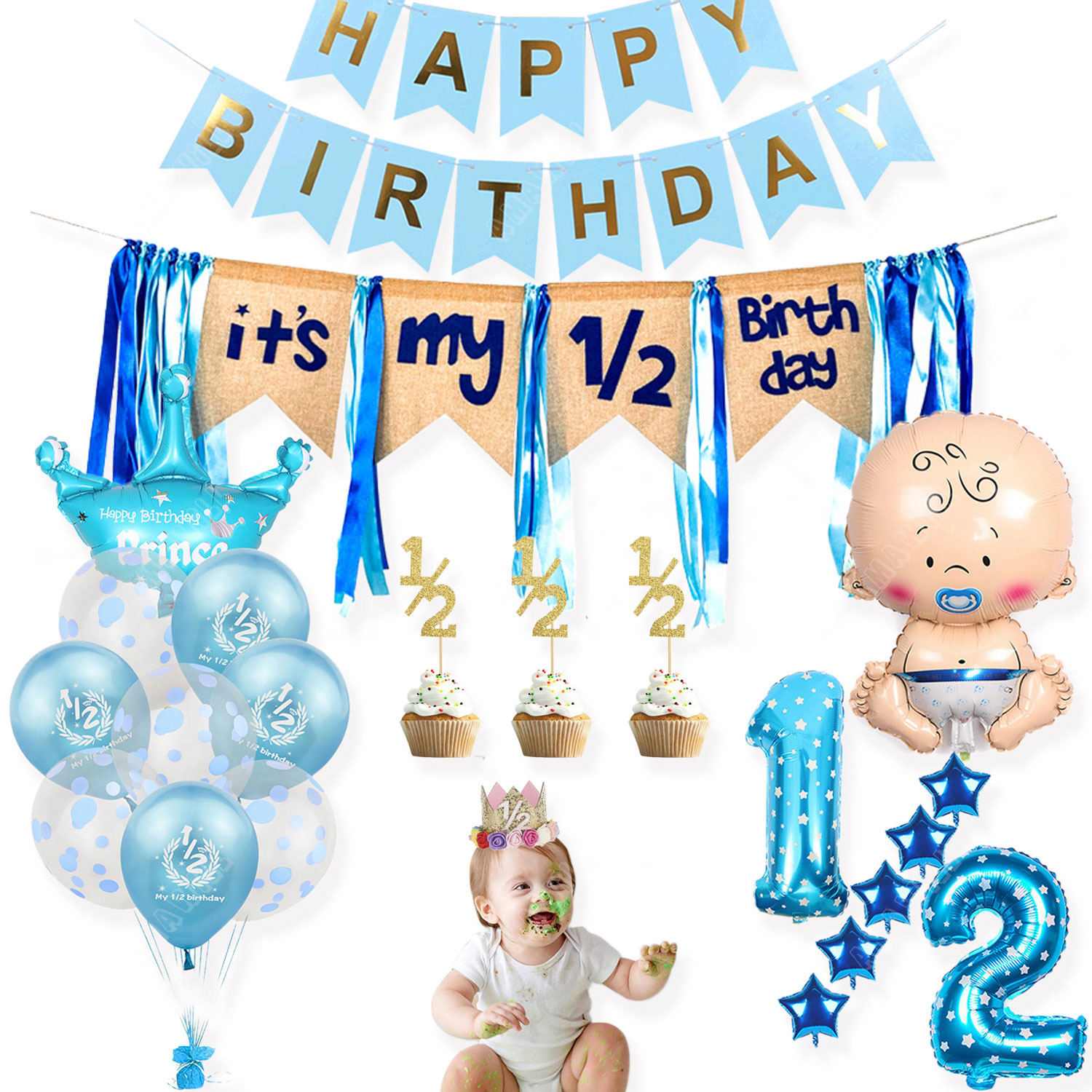 jungle animal theme 1 12 months photo frame banner baby 1st birthday decorations baby boy girl my first one year party supplies Baby Shower Theme Party It's My 1/2 Birthday Balloons Banner Cake Toppers Crown Hat Boy Girl 6 Months Half Birthday Decorations