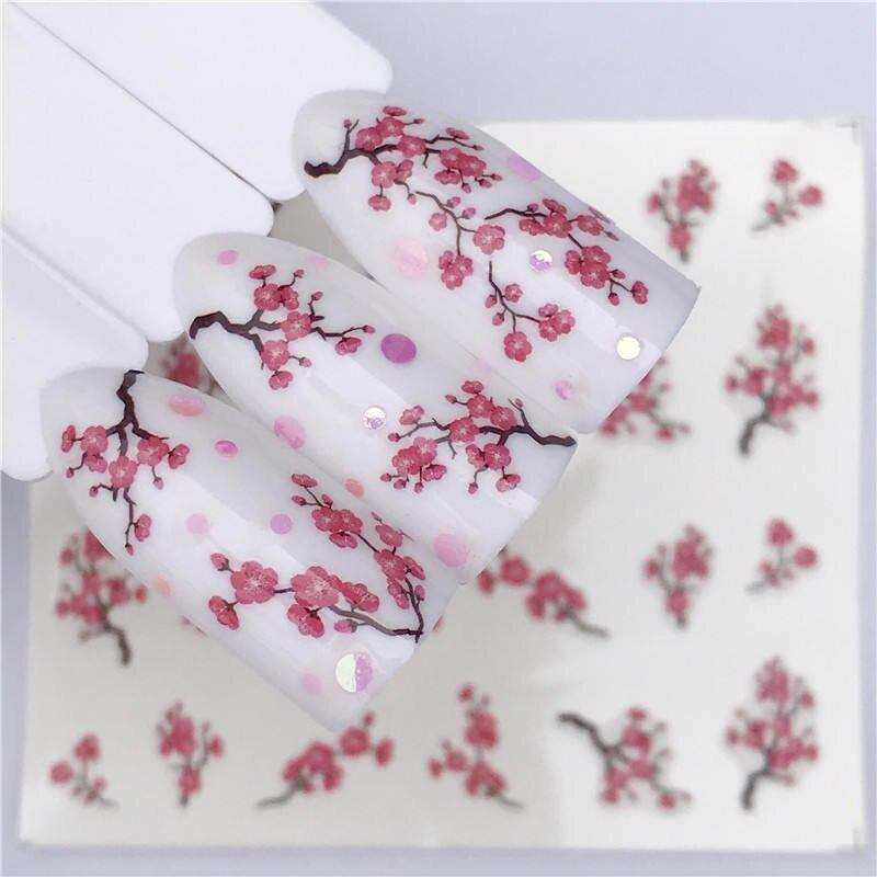 Сливовый цвет, 1 лист, наклейка для водяного переноса изображения на ноготь, наклейки для фруктов, крема, торта, кота, украшения красоты, цветные тату-наконечники для самостоятельного изготовления