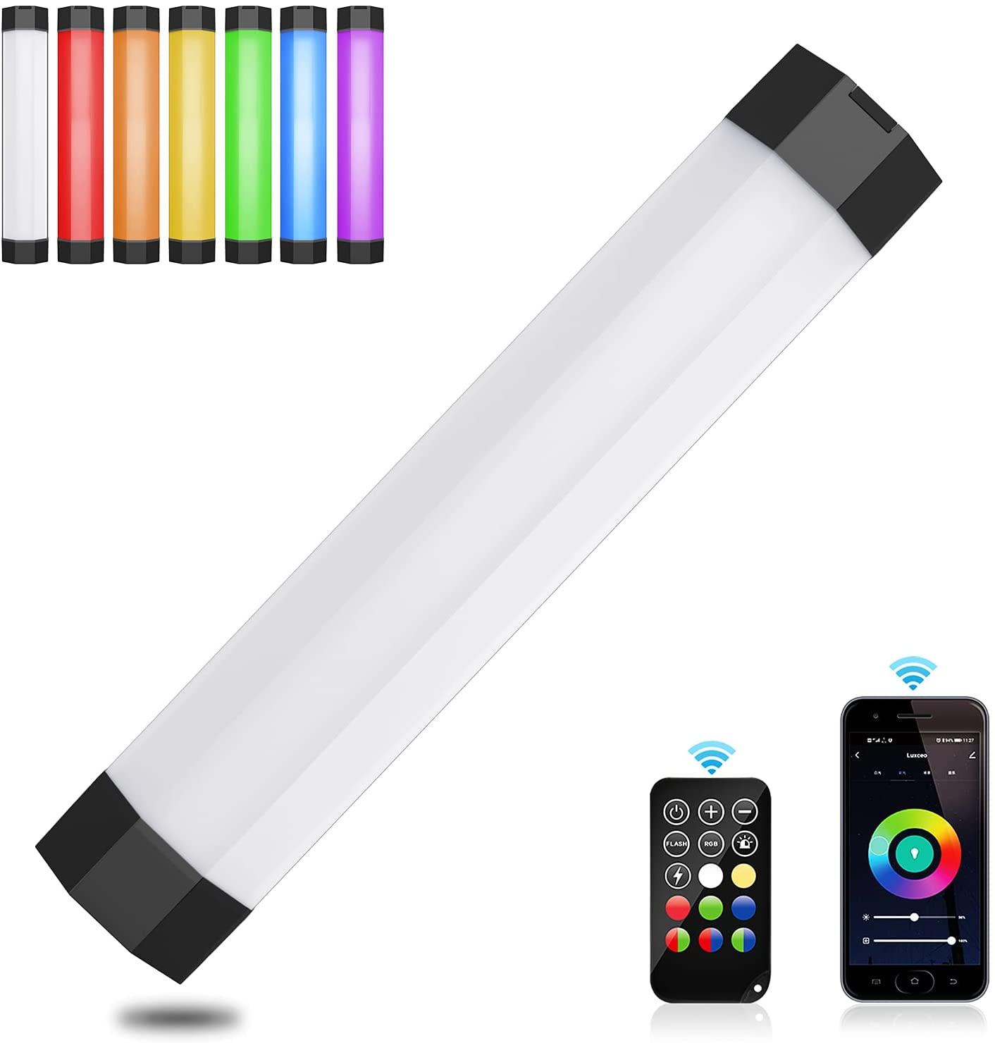 DF DIGITALFOTO RGB مصباح أنبوبي مقاوم للماء مع المغناطيس يده RGB أنبوب ضوء عصا الفيديو لينة ضوء التطبيق والتحكم عن بعد فوتوغ