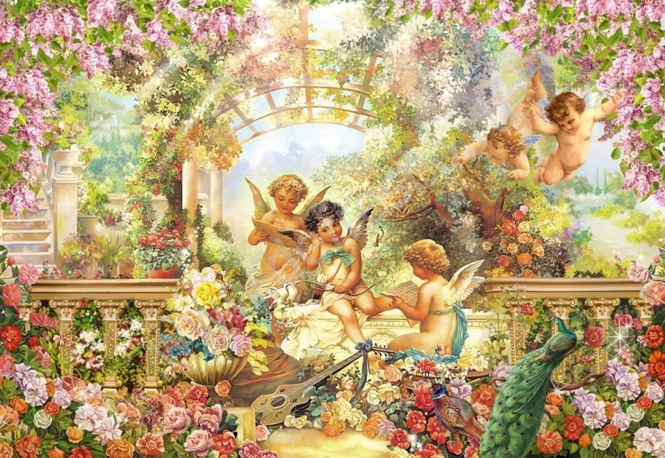 JMINE Div 5D, jardín, Ángel, flor de bebé, pintura completa de diamantes, kits de Arte de punto de cruz, pintura cristiana 3D de diamantes
