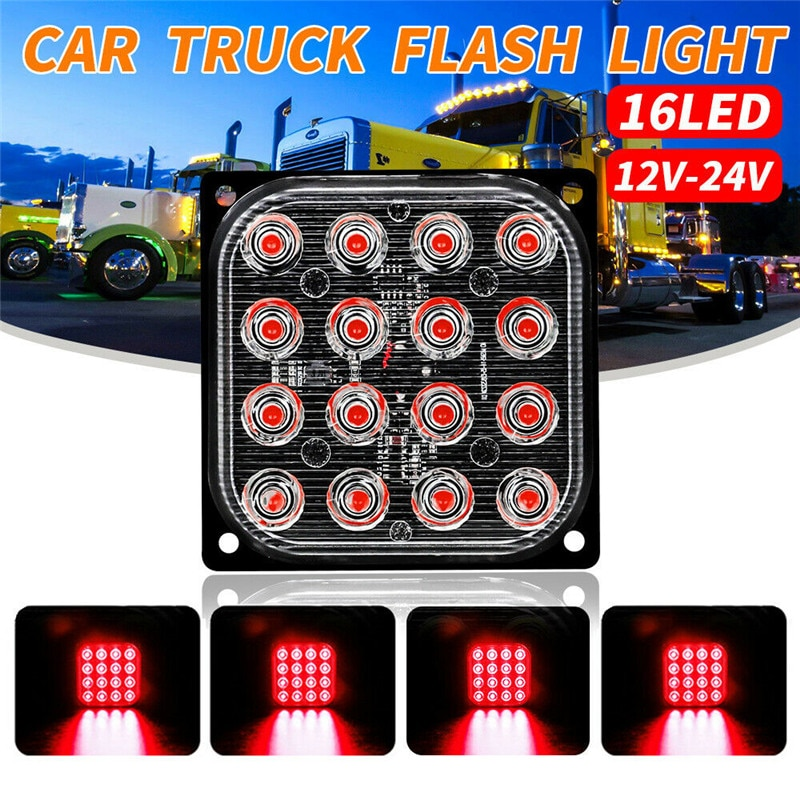 Luces estroboscópicas cuadradas de Flash fso 16LED, luces estroboscópicas intermitentes, luces de señalización de emergencia, luces de estacionamiento de 12V-24V para camiones