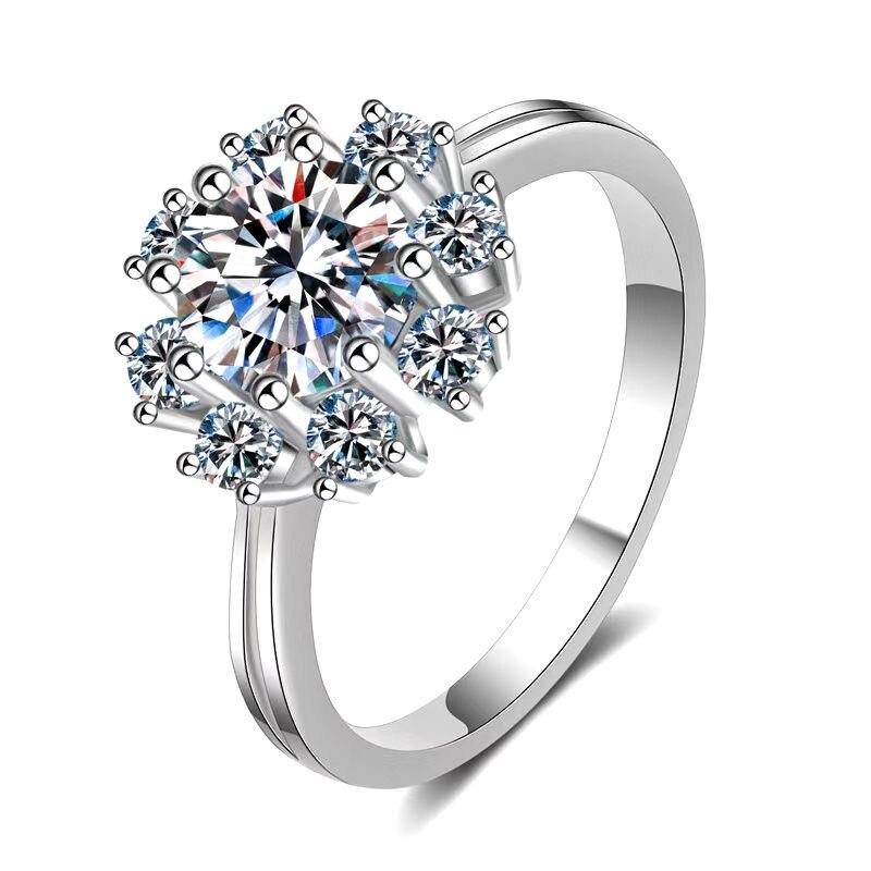 مجوهرات موسانيت الدائري 925 الفضة 1 Ct ممتاز قص D اللون تمرير الماس اختبار موسانيت الدائري الفاخرة الإناث خواتم الماس