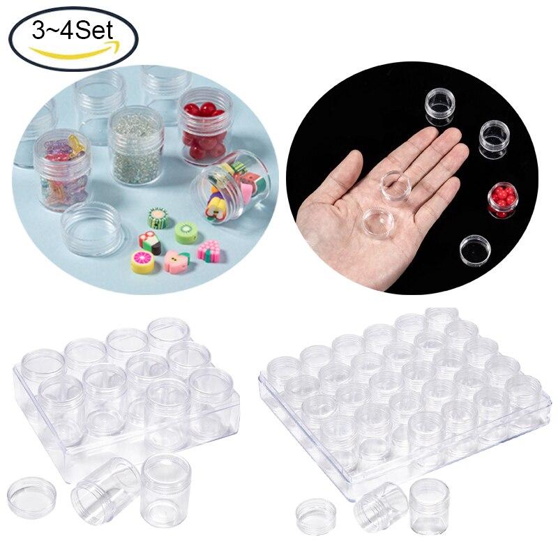 3 ~ 4 مجموعات من البلاستيك صندوق تخزين شفاف واضح الخرز تخزين الحاويات جرة مع تقريب المسمار العلوي الأغطية لتخزين المجوهرات