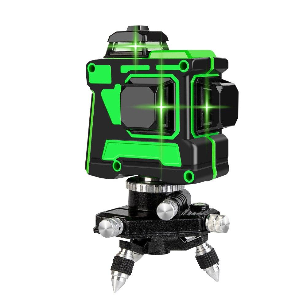 12 линий 3D зеленый лазерный уровень Горизонтальные и вертикальные поперечные линии 360 Автоматическая самонивелирующаяся Зеленая лазерная л...