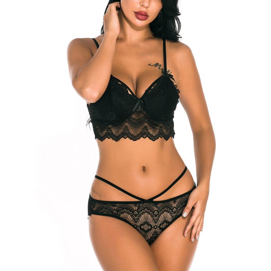 Women Sexy Lace Sleepwear Lingerie Temptation Bra Underwear Nightwear Exotic Set Lady Transparent Babydoll