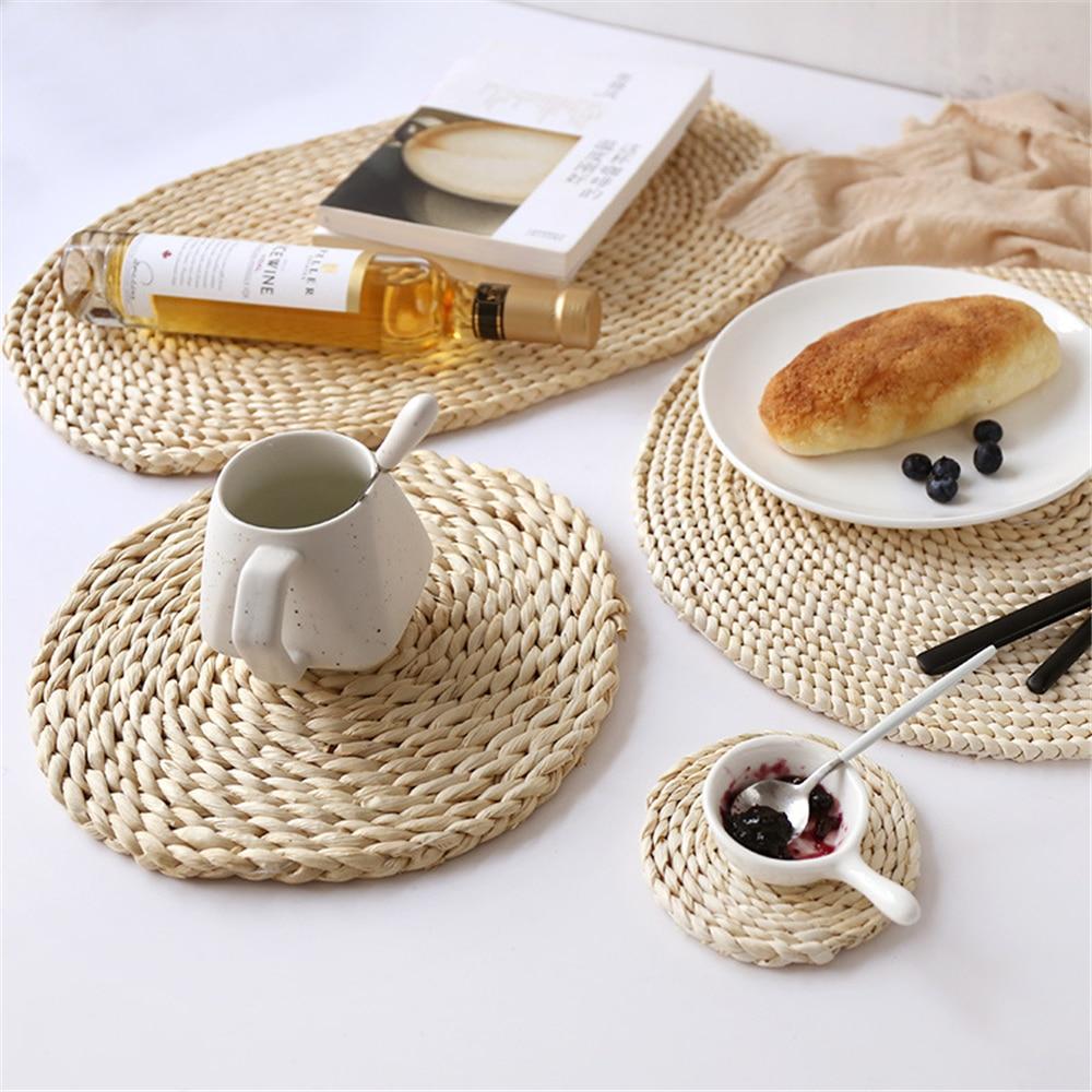 Posavasos de ratán de 11 cm, manteles para mesa de cocina, manteles para tejer maíz, manteles acolchados, almohadillas, taza para té y café, cojín hecho a mano